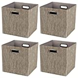 Storage Cube Basket Bin,Foldable Closet Organizer Shelf Cabinet Bookcase Boxes,Thick Fabric Drawer Container (4, Coffee)
