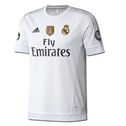 size 40 390e9 cf3ed adidas Youth Real Madrid 15/16 Champions Home White/Clear Grey/Onix Jersey