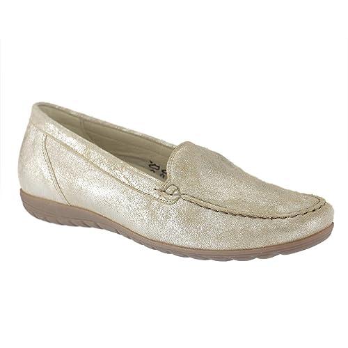 Waldläufer Hesima - Mocasines de Piel para Mujer, Color Dorado, Talla 38: Amazon.es: Zapatos y complementos