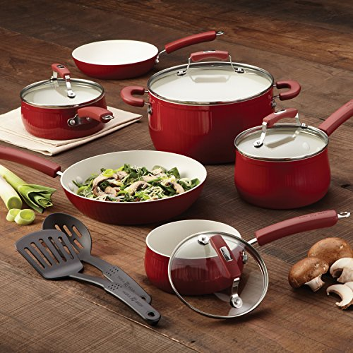 Paula Deen Savannah Collection Aluminum Nonstick 5.5-Quart Covered Casserole, Red