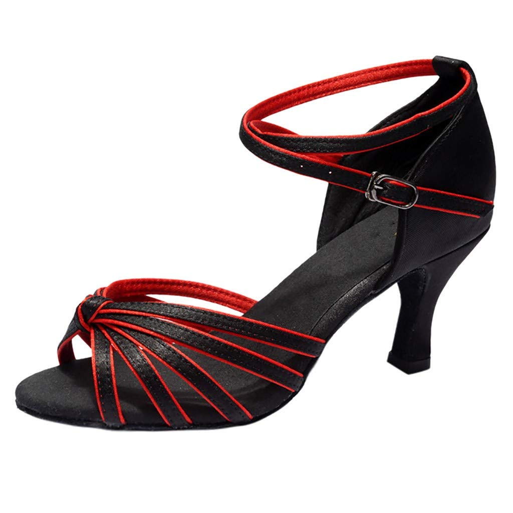 KESEELY 2019 Girl Latin Dance Shoes Med Heels Satin Party Tango Salsa Dance Open Buckle Strap Shoes Black