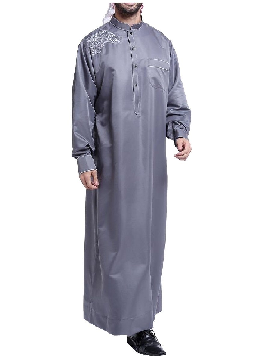 CuteRose Men Embroidered Mandarin Collar Basic Cotton Islamic Muslim Thobe Dark Grey M