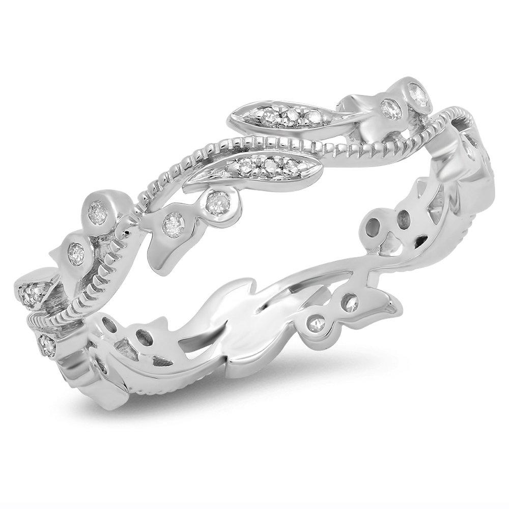 0.20 Carat (ctw) 14K White Gold Round Diamond Ladies Vintage Wedding Eternity Ring 1/5 CT (Size 7.5)