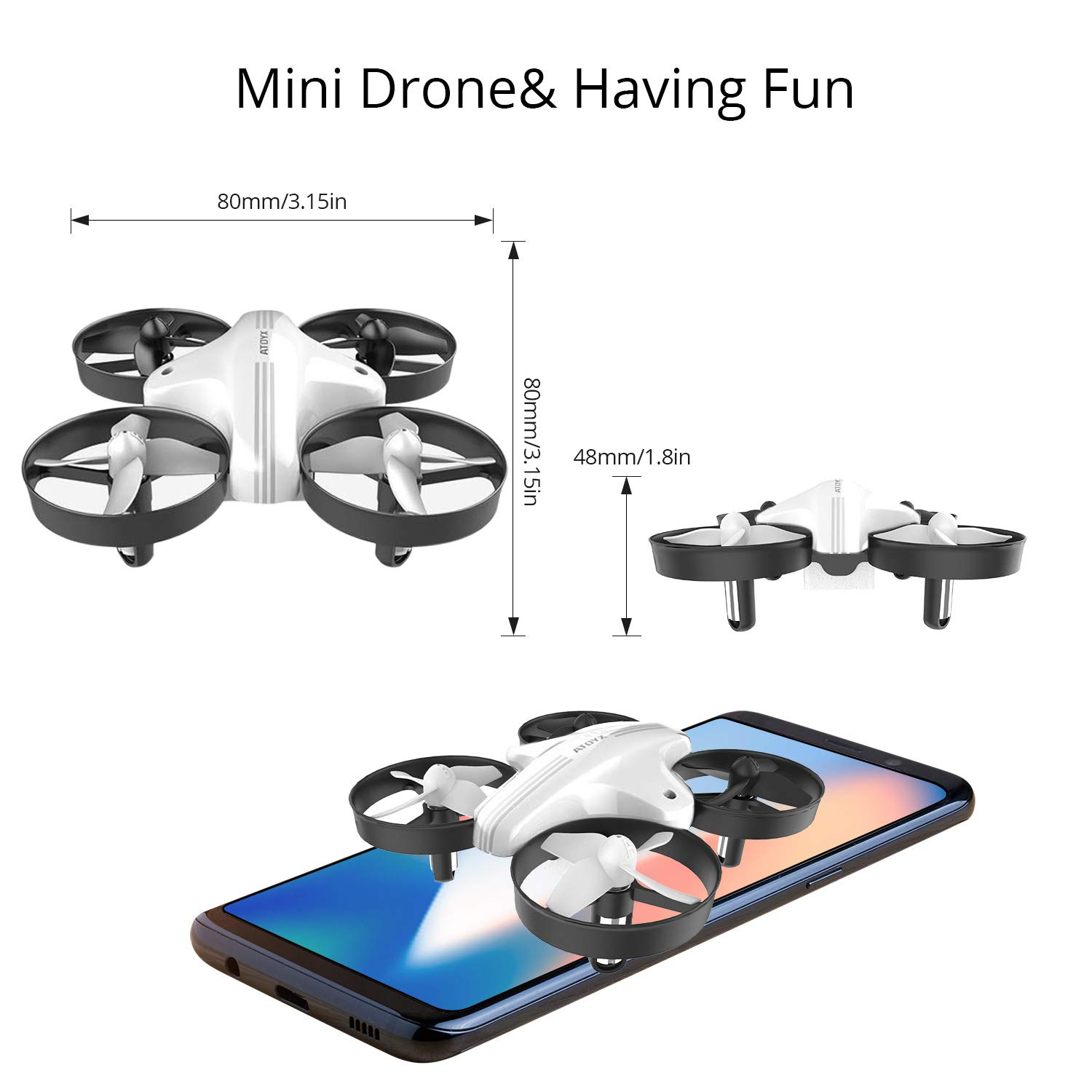 Portable Small Flying Drone is Boys and Girls Toys Gift 2 Batteries Quadcopter 2.4Ghz 6-Axis Gyro 4 Channels 2019 Upgraded Mini Drones for Kids and Beginners Easy to Fly