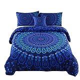 Queen Size Comforter Sets on Sale MEILA 4 Pcs Luxury Soft Microfiber Bedclothes Plain Twill Boho Bohemian Duvet Cover Set Mandala Pattern Bedding Sets (Queen)