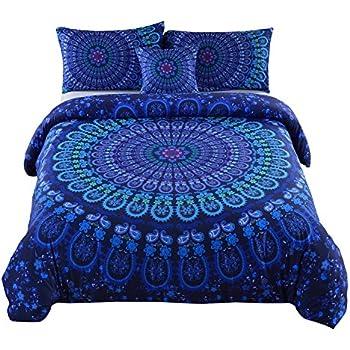 MEILA Duvet Cover Set Luxury Soft Microfiber Bedding Sets Bohemian Mandala Pattern Bedclothes , Queen(90inx 90in), 4 Pieces (1 Duvet Cover+ 2 Pillowcase+ 1 Throw Pillow Case)