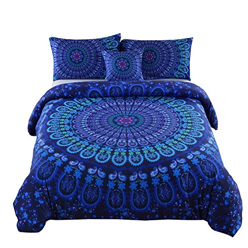 MeiLa 4 Pcs Luxury Soft Microfiber Bedclothes Plain Twill Boho Bohemian Duvet Cover Set Mandala Pattern Bedding Sets Queen Size (Comforters On Sale)