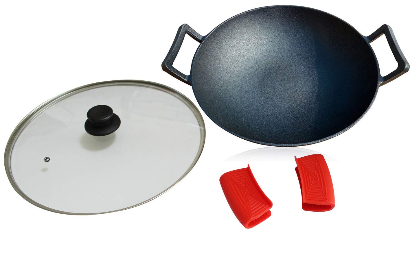 14-Inch Cast Iron Wok Set (Pre-Seasoned), Glass Lid & Silicone Hot Handle Holders