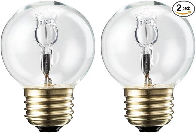 White 2 Pack 16 1//2 GE Light Blub Globe 40 Watt 330 Lumens G16.5 Med Base 3 In