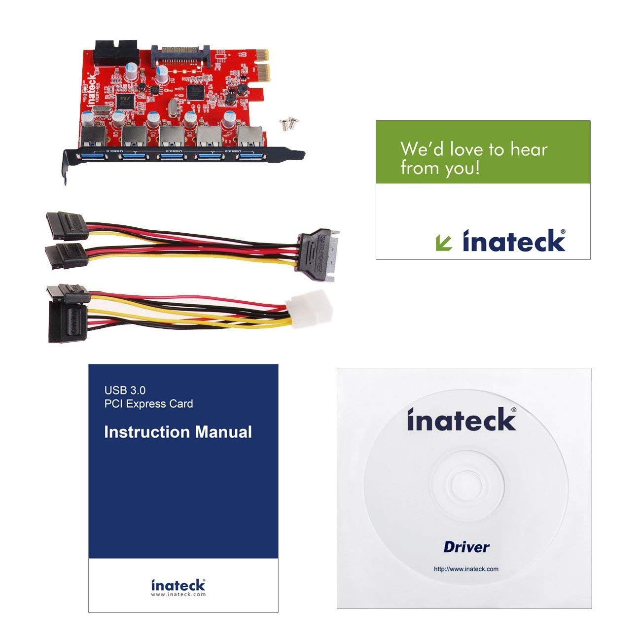 Red Inateck KT5001 5 Ports USB 3.0 PCI Express Card and 15 Pin Power Connector