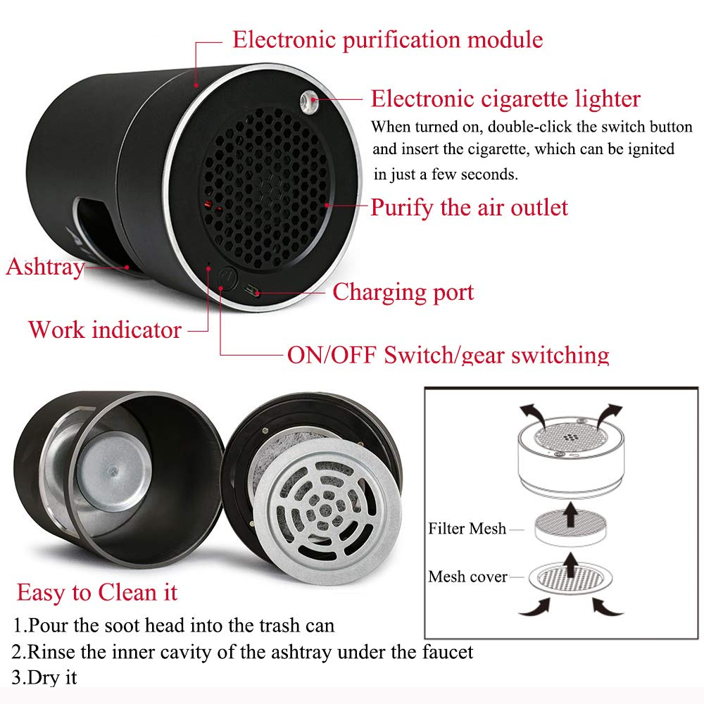 Bora Multifunctional Air Purifier Ashtray Smokeless Filter with Activated Carbon Remove Formaldehyde Deodorant USB Rechargeable for Car//Indoor//Outdoor Protect Family Health