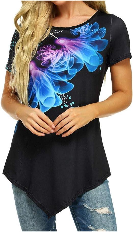 Moilant Women O-Neck Tees Short Sleeve Floral Print Tops Irregular Tunic Casual Blouse