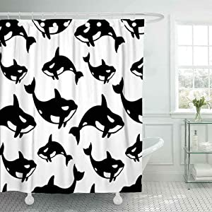 Dethel Farmhouse Shower Curtain, 66X72 Baby Shower Curtain Bath Shower Curtain Whale Dolphin Shark Fin Doodle Pattern Background Camping Shower Curtain Cute Shower Curtain