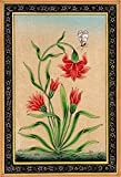 Mughal Flower with Butterfly - Water Color Painting