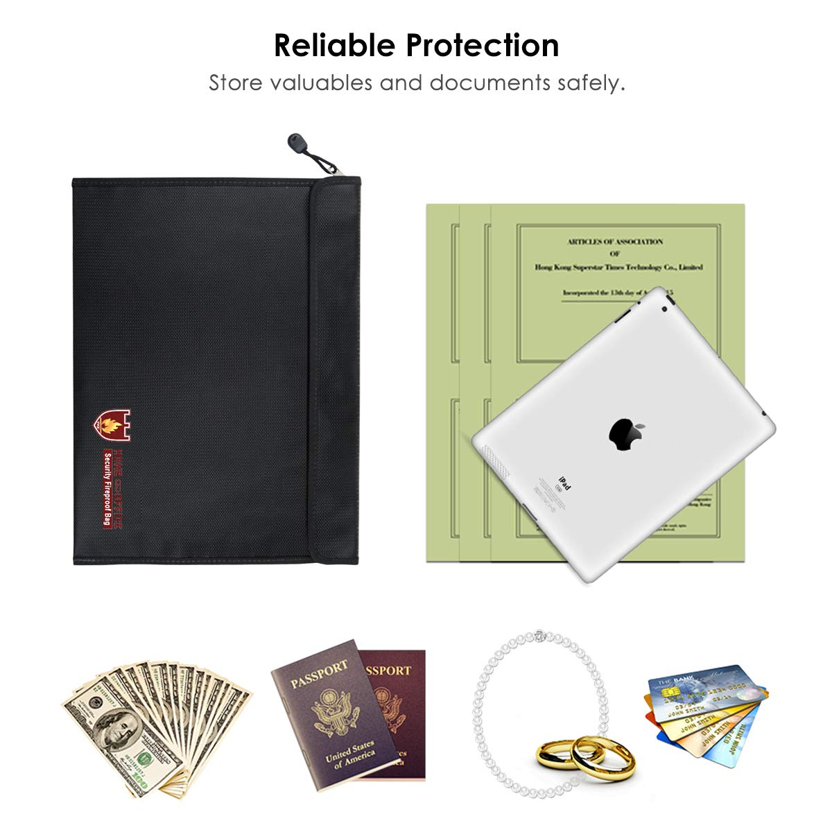 Yunnyp Paper File Bag,Fireproof Money Safe Document Bag Fire /& Water Resistant Document Holder Fireproof Safe Storage for Files Passport and Valuables Zipper Closure