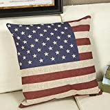 Anndeeson America Flag Cotton Pillowcase Linen Square Decorative Throw Pillow Case