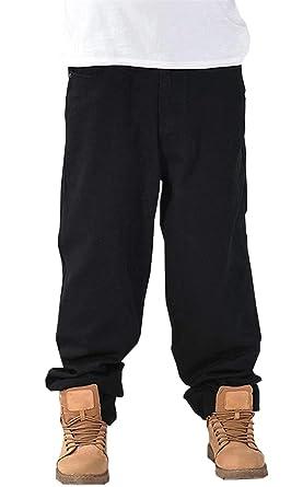 DanTile Men s Hip Hop Loose Fit Straight Leg Skateboard Jeans Denim Pants 655fda014
