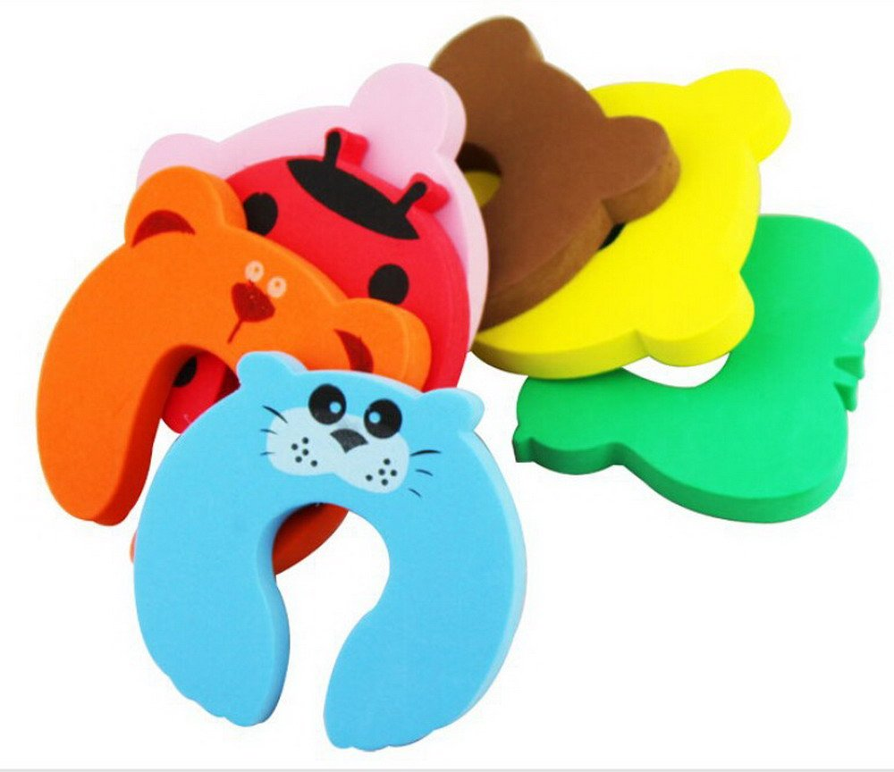 5pcs Cartoon Animal Foam Door Slam Stopper,Child Proof Product Safety Lock Guard Finger Protection for Children safety