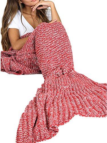 Simplee Apparel La mujer de invierno calido salon colcha hecha a mano peces cola de sirena manta ganchillo Prendas de punto Rojo