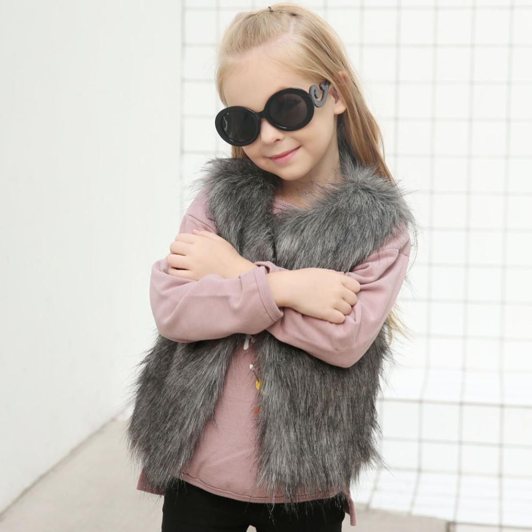 54c5696012fe Amazon.com  Staron Baby Girls Faux Fur Vest Coat Kids Autumn Winter ...