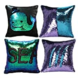 MOCOFO Glitter Pillow, Set of 4 Reversible Sequins Pillow Cover Magic Mermaid Pillowcase Parkly Fun Flip Sequins Throw Pillow Blue Purple Black Couch Color Changing Decor Cushion Covers for Sofa16X16