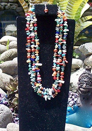 Three strand Multicolor, multistone necklace