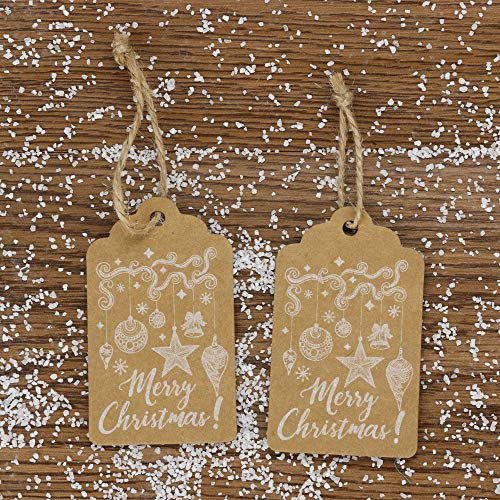 Euone  Xmas Tags, 50Pcs Kraft Paper Tags Merry Christmas Craft Paper Gift Tags Label Hanging Cards (Bottle Kraft)