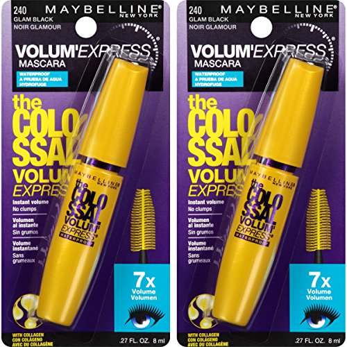 Maybelline New York Volum' Express The Colossal Waterproof Mascara Makeup, Glam Black, 2 Count