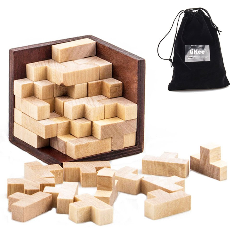 LiKee Wooden Brain Teaser Puzzle 54 T-Shaped Tetris Pieces HM-3D
