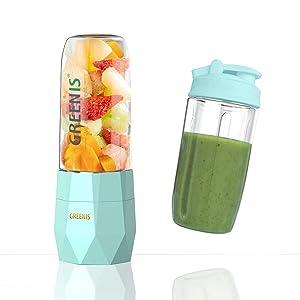 Greenis Portable Blender, USB Rechargeable Single Serve Blender, Mini Household Mixer For Baby Food,Fruit,Milk Shake, 400ml Electric Juice Cup, 4000mAh Li-ion battery, Stainless Steel 4-Blade, Powerful Motor 18000 RPM (FDA, BPA Free)