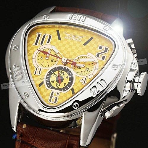 Amazon.com: WINNER Men Leisure Automatic Mechanical Wrist Watch Leather Strap Triangular Dial Sub Dials Yellow Dial: WINNER: Watches