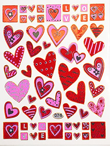 Jazzstick 430 Valentines day Red & Pink Heart Stickers 10 sheets (VST01A19)