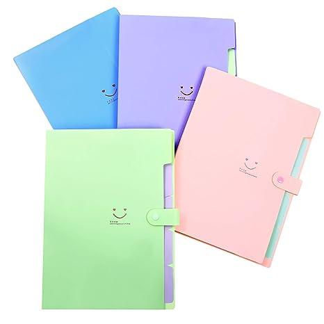 Phyxin Carpetas de archivadores expandibles, organizador de documentos de plástico acordeón, 5 bolsillos,