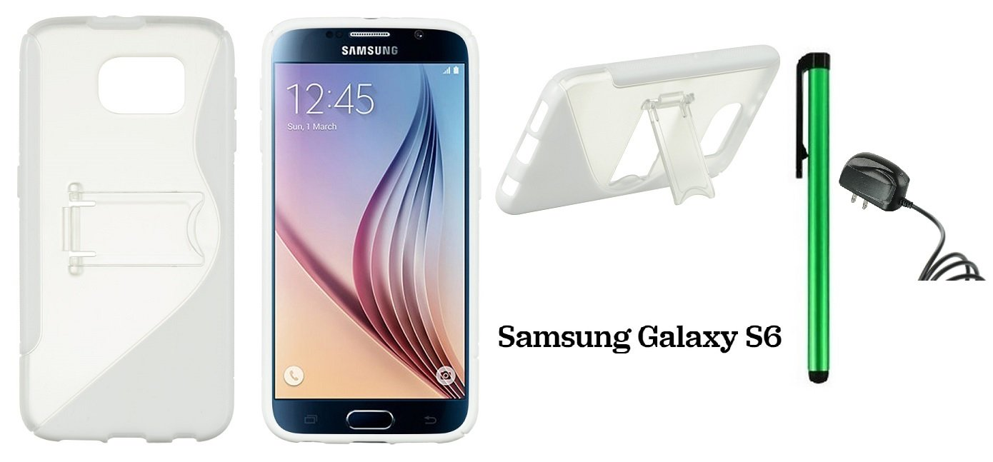 Samsung Galaxy S6 (2015 Samsung New Flagship Android Phone; US Carrier: Verizon Wireless, AT&T, Sprint, and T-Mobile) Phone Case - Premium Pretty S-Shape Stand Cover Case + Travel (Wall) Charger + 1 of New Metal Stylus Touch Screen Pen (WHITE TRIM With CL