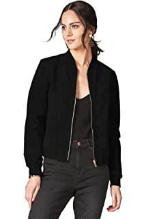 2fbb1fa8b71dd Escalier Women s Genuine Leather Jacket Zip up Suede Quilted Bomber Biker  Coat