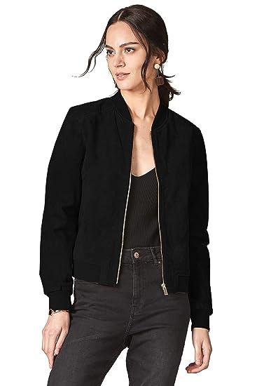 d72c1f3c8 Escalier Women's Genuine Leather Jacket Zip up Suede Quilted Bomber Biker  Coat