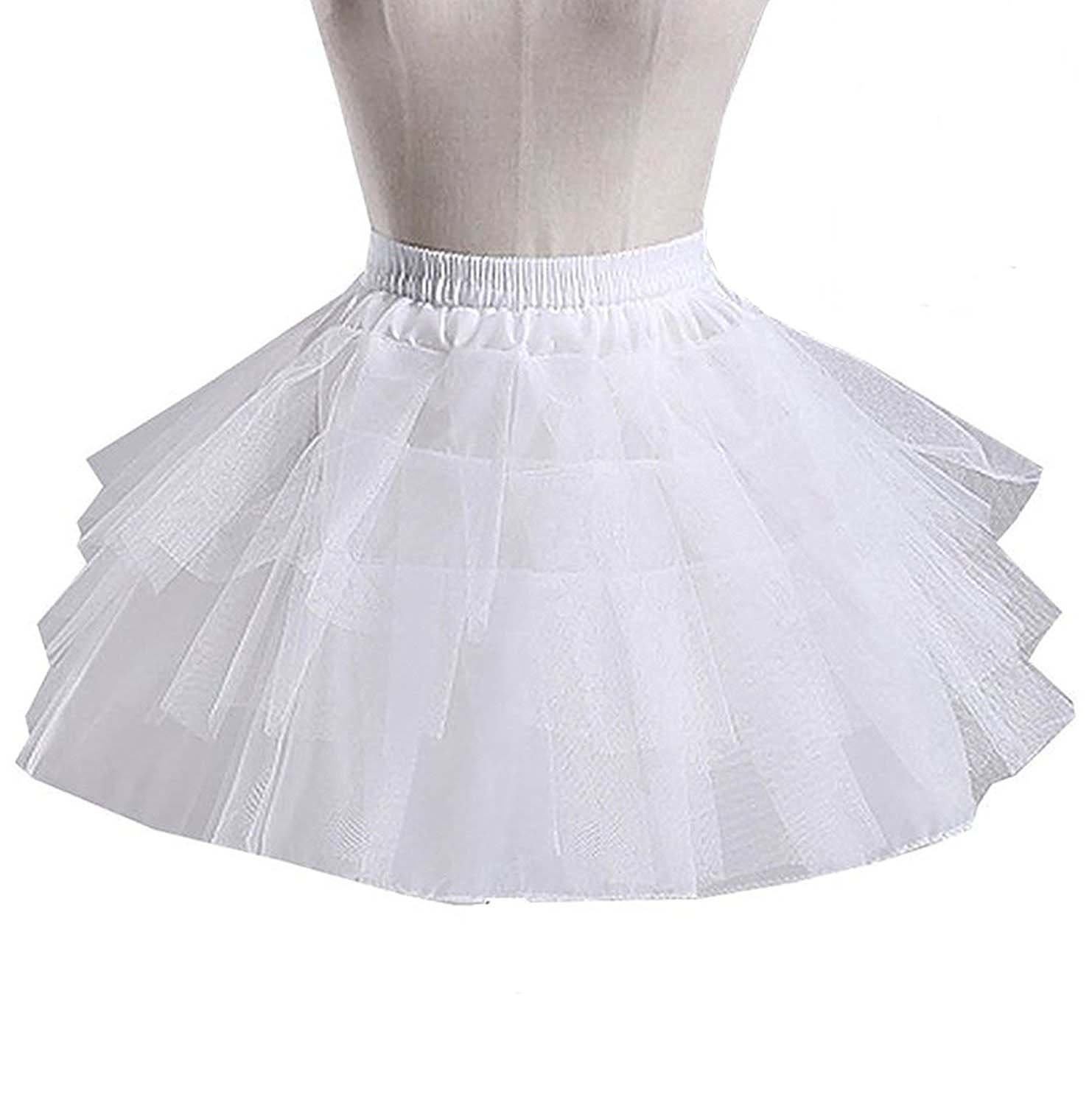 LastBridal Little Girl's Vintage Underskirt Petticoat Half Slip Tulle Lace Crinoline For Wedding Party Flower Girls Skirt (One Size, White 3)