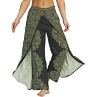 Fansu Dames Boheemse broek split losse bloemen baggy harembroek yoga bedrukte hoge taille broek voor pilates Culottes…