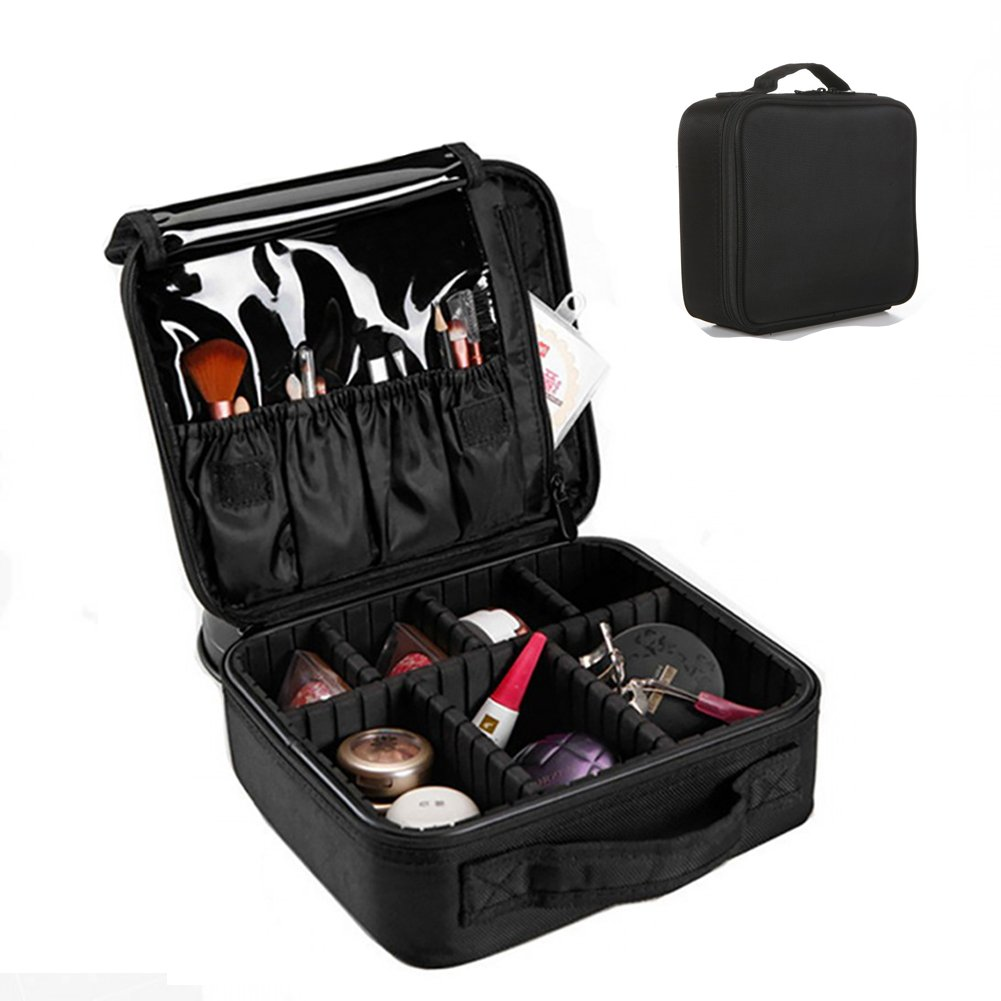 Travel Makeup Case Portable Cosmetic Organizer 9.8'' Travel Makeup Artist Case Adjustable Dividers Travel Makeup Bag for Nail Tool,Makeup Brush,Toiletry,Jewelry and Digital Accessories (Black)