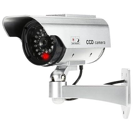 KKmoon Cámara de seguridad falsa Simulation cámara Bullet Solar Powered CCTV impermeable a la lluvia falso