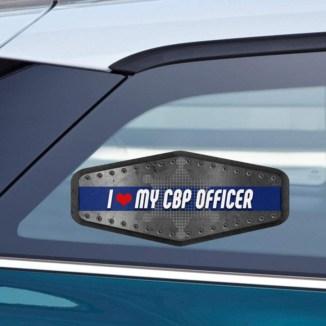 Makoroni - I Love My CBP Officer Police Cop Cops Car Laptop Wall Sticker Decal - 7.5 by 3 inc.