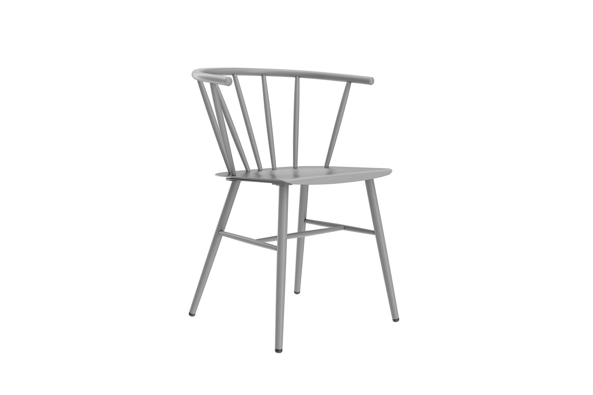 Novogratz Campbell Cottage Dining Chair, Metal Design, Grey