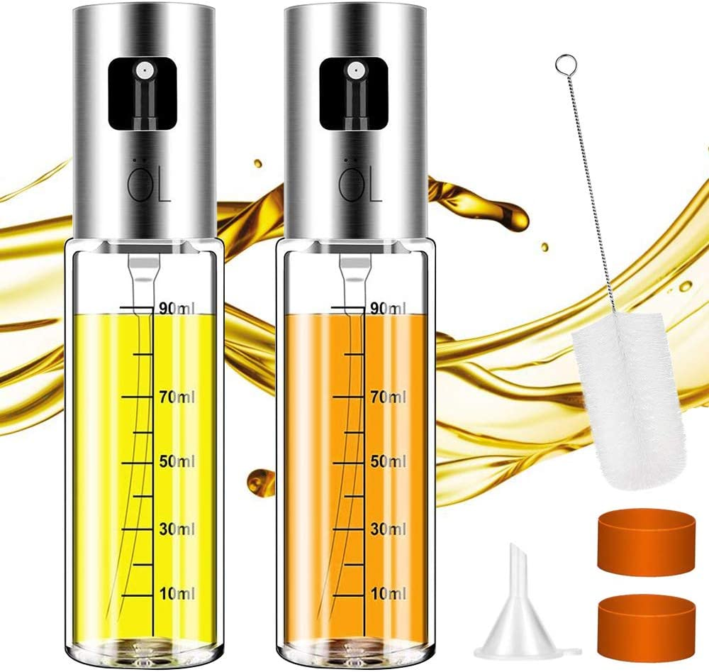 Olive Oil Sprayer Misters for Cooking: Oil Vinegar Dispenser for Air Fryer 3.4-Ounce Capacity Food-Grade Glase Bottle Perfect for BBQ Salad Baking Grilling – 2 Pack