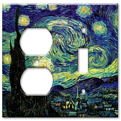 Van Gogh: Starry Night Metal Wall Plate - Double Gang Combo - Outlet/Toggle