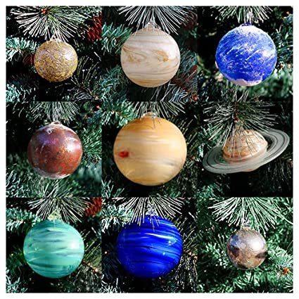 Amazon.com: Blown Glass Solar System Ornament Set, 9 Planets with ...