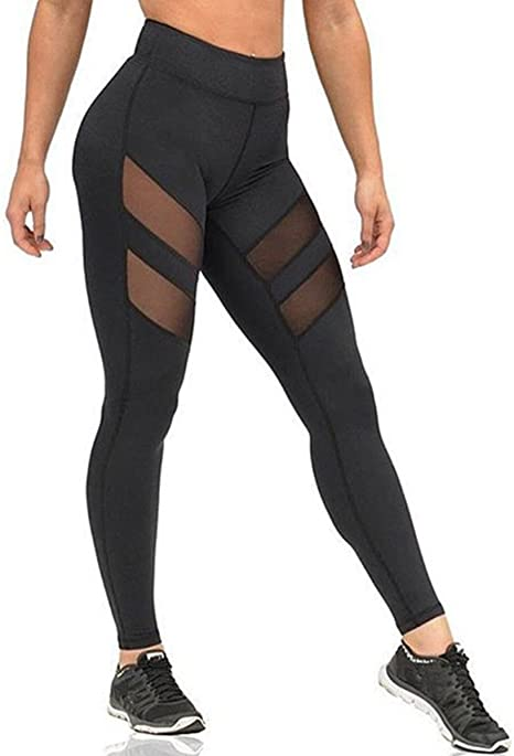 Ladies Womens Sports Gym Yoga Long Leggings Mesh Clothes Stretchy Workout Pants