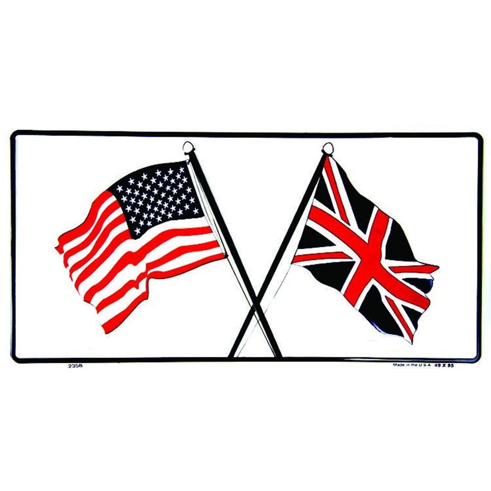 Signs 4 Fun SL2358 US and British Flags License Plate