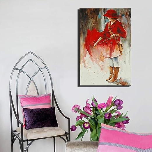 adgkitb canvas Hermosa niña Lienzo Pintura decoración para el ...