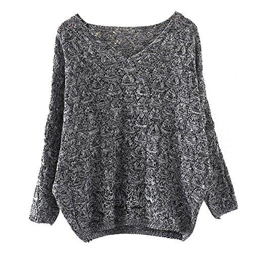 Women's Sweater, Women's Hollow Out Bat Long Sleeve Loose V Collar Sweater (Dark Gray, Free) by SOUND JUNKU (Image #7)