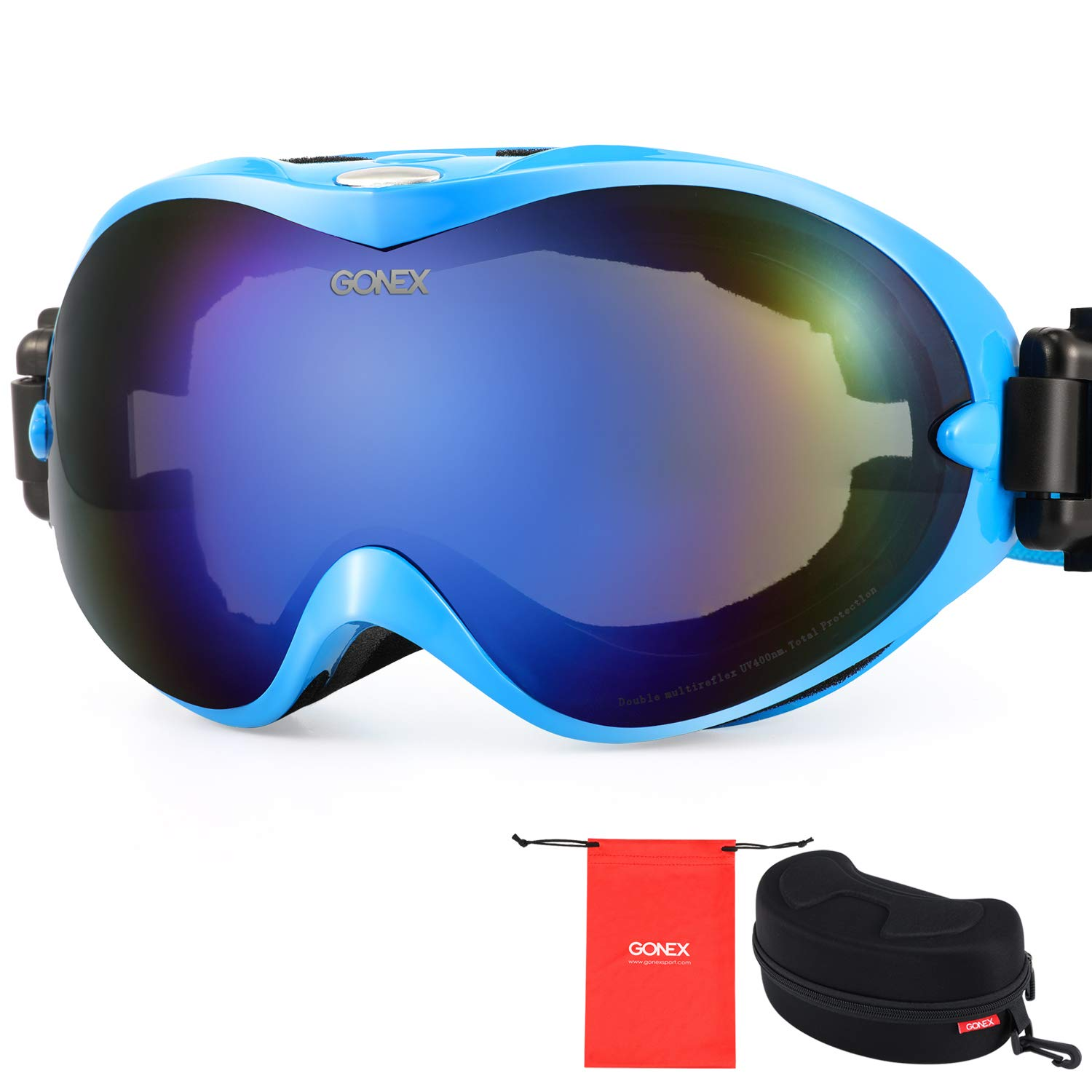 4486eea60a1 Amazon.com   Gonex Adult Ski Goggles Snow Snowboard Goggles Blue Lens Blue  Frame   Sports   Outdoors